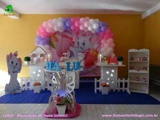 Decoração de aniversário Gata Marie - Festa infantil feminina