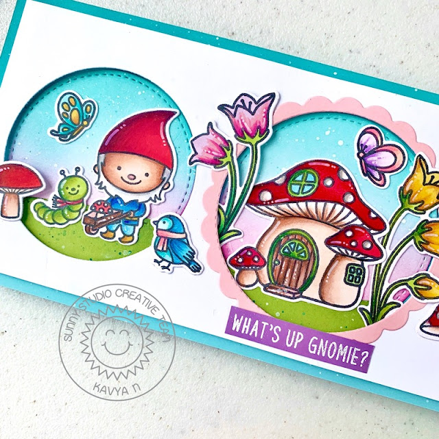 Sunny Studio Stamps: Stitched Circle Dies Garden Fairy Home Sweet Gnome Everyday Card by Kavya