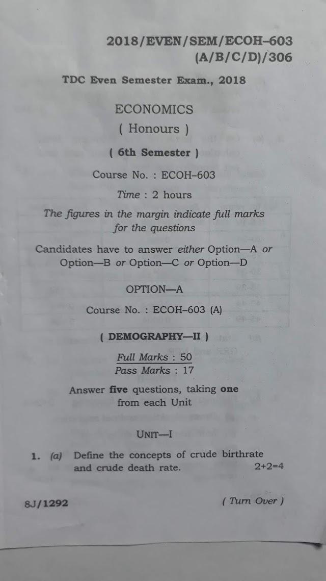 Assam University Question Paper TDC  Economic Honours 6th Sem Demography, Agricultural Economics, Computer, Money and Banking