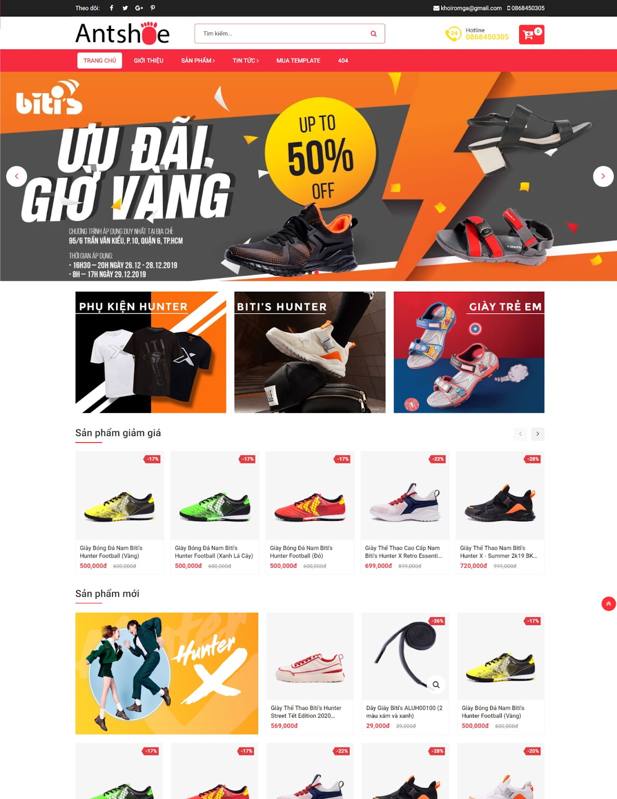 Template blogspot bán hàng Ant Shoe Shop