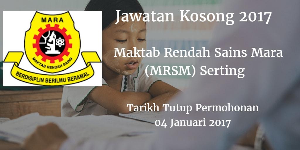 Jawatan Kosong MRSM Serting 04 Januari 2017