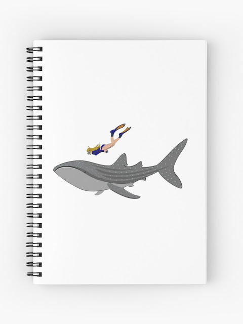 Whaleshark and freediver drawing printed on spiral notebook