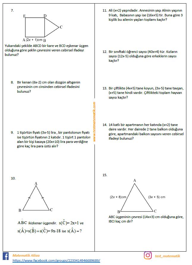 7 Sinif Cebirsel Ifadeler Calisma Kagidi Test Matematik