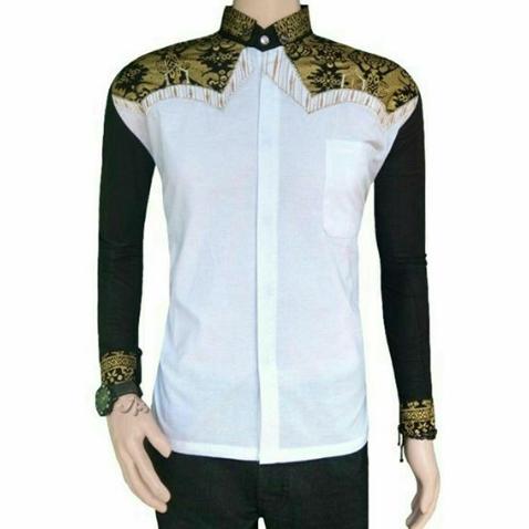 Model Baju Batik Pria Lengan Panjang Kombinasi Kain Polos Terbaru