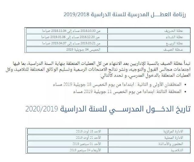 تاريخ الدخول المدرسي للسنة الدراسية 2019-2020