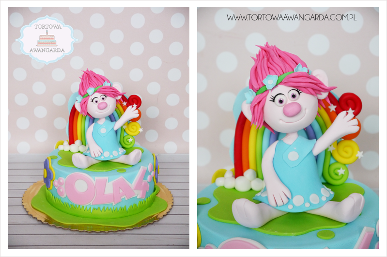 kolorowy tort Trolle bajkowy urodzinowy artystyczny Warszawa