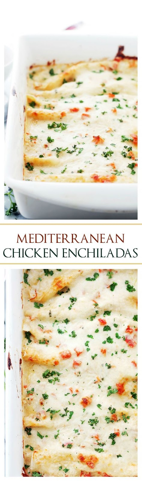 Mediterranean White Chicken Enchiladas