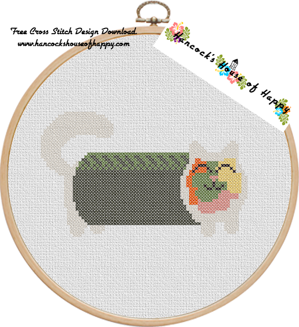 Sushi Cat Cross Stitch Design: Avocato Roll (Avocado Roll) Free Cross Stitch Pattern to Download