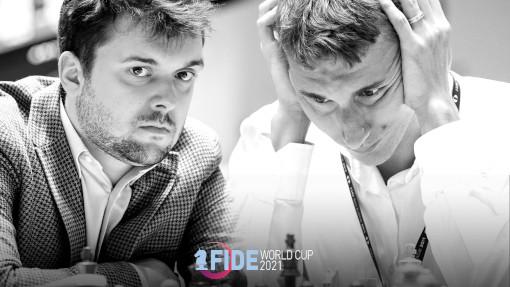 Le match Fedoseev vs Karjakin en demi-finale de la coupe du monde d'échecs - Photo © FIDE