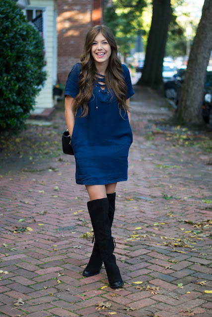 Wearing Over The Knee Boots with a Dress - Chasing Cinderella