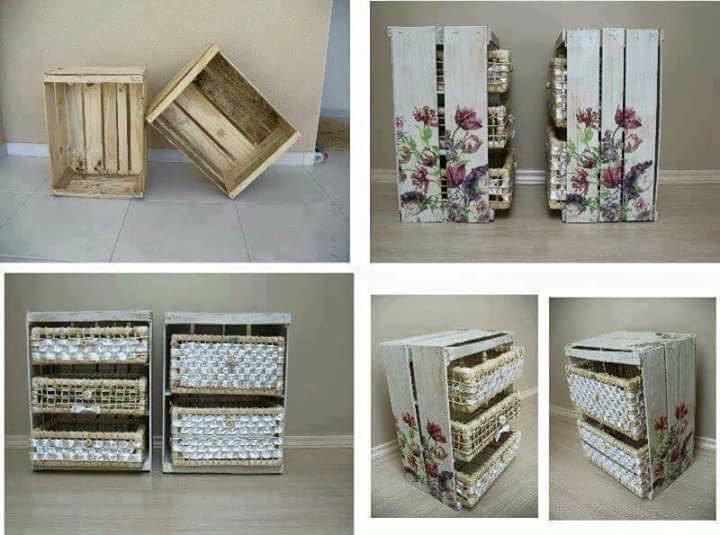 Ideas de muebles hechos con con cajas y cajones de madera for Muebles con cajas de madera
