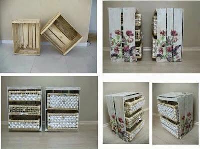 muebles para toilette hechos con cajones de madera reciclados