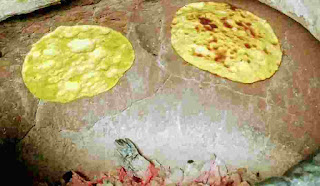 Cooking or roasting two Missi roti in a charcoal tandoor till crisp golden