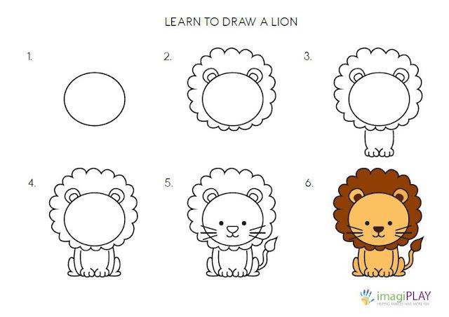رسم اسد للاطفال