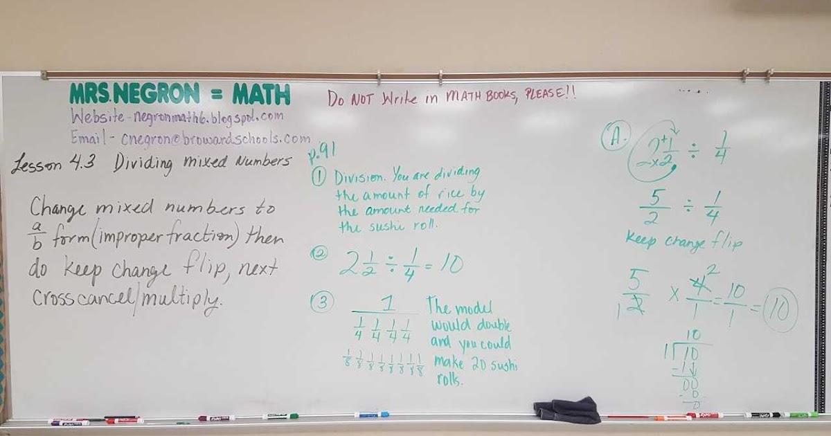 Mrs. Negron 6th Grade Math Class: Lesson 4.3 Dividing ...