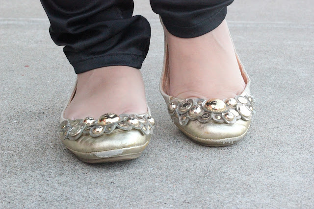 Embellished Gold Coach Flats