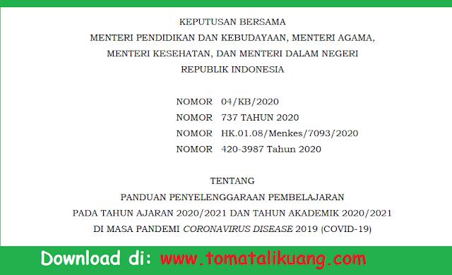Download Panduan Pembelajaran Tatap Muka Semester Genap 2020/2021 PDF (SKB 4 Menteri)