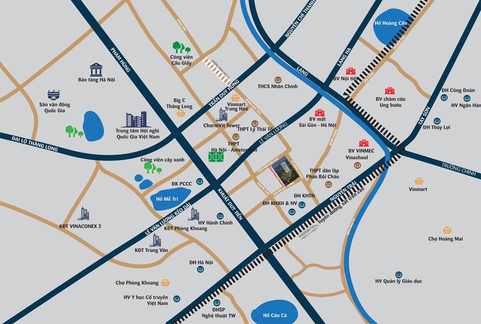 Vị trí địa lý chung cư Thanh Xuân Complex