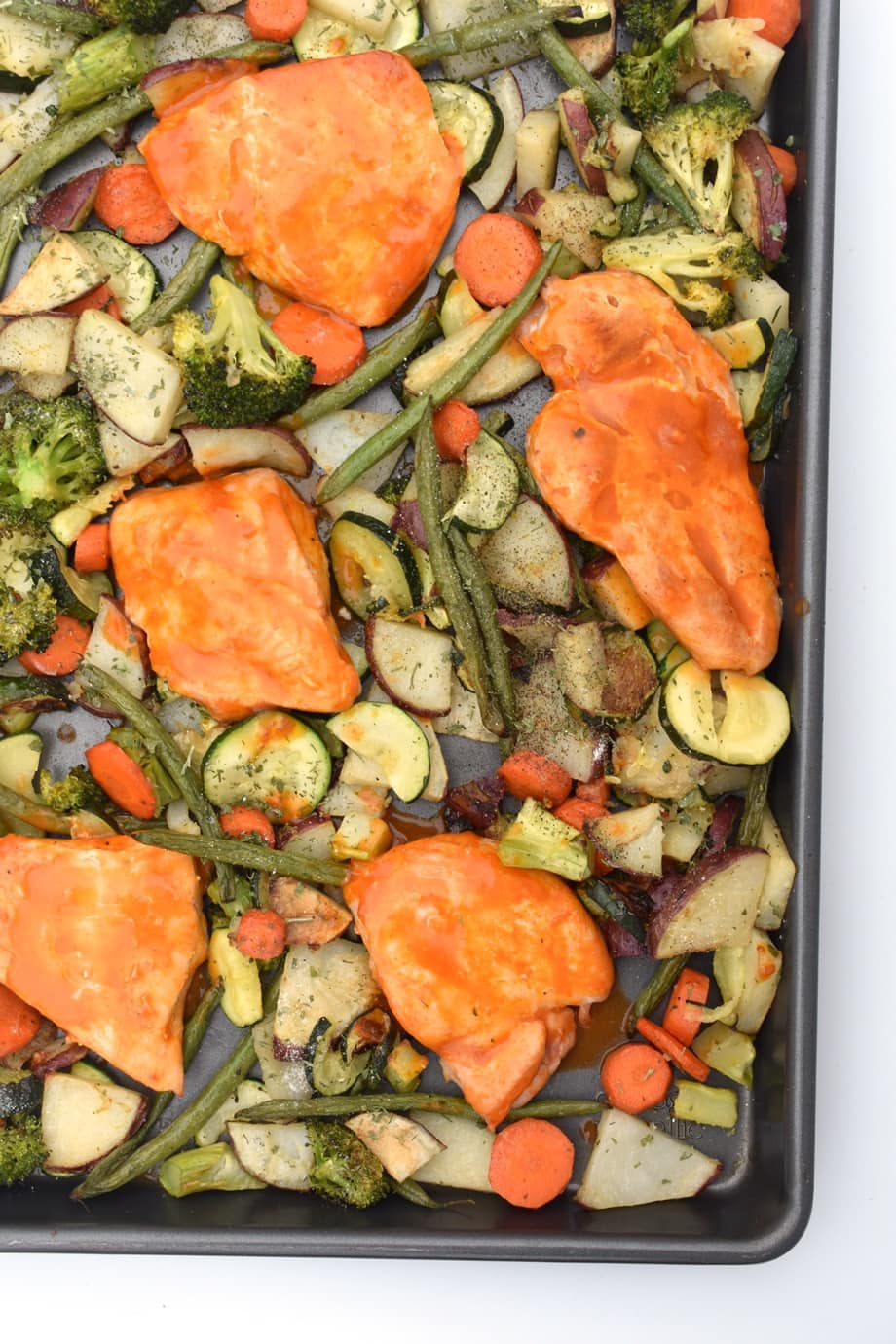 Sheet Pan Buffalo Chick and Roasted Ranch Vegetables