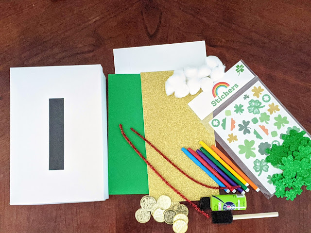 supplies for St. Patrick's Day leprechaun trap