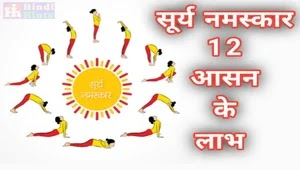 सूर्य नमस्कार के लाभ (12 आसन)  - Benefits of Surya Namaskar (12 Steps) in Hindi
