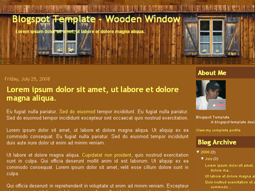 New Blogger Template: Wooden Window