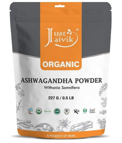 100% Just Jaivik Organic Ashwagandha Powder- Withania Somnifera- USDA Certified Organic- 227g