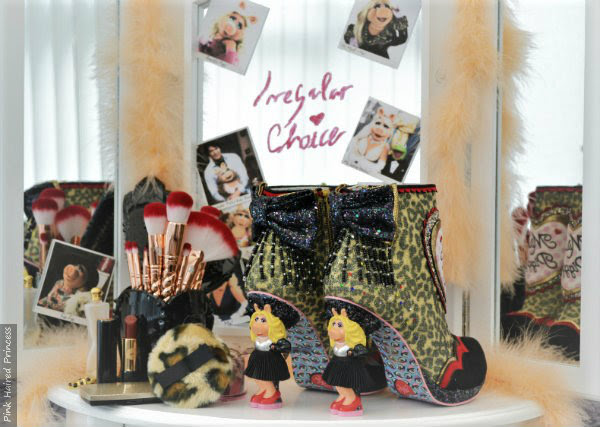Irregular Choice Disney Muppets Fierce Piggy boots backstage vanity table scene
