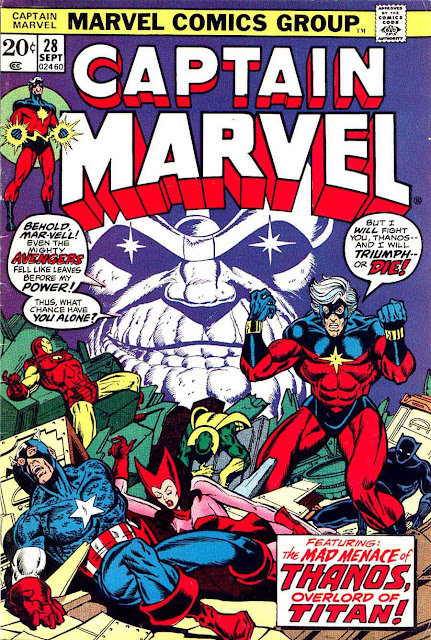 Captain Marvel #28 marvel 1970s bronze age comic book cover art by Jim Starlin
