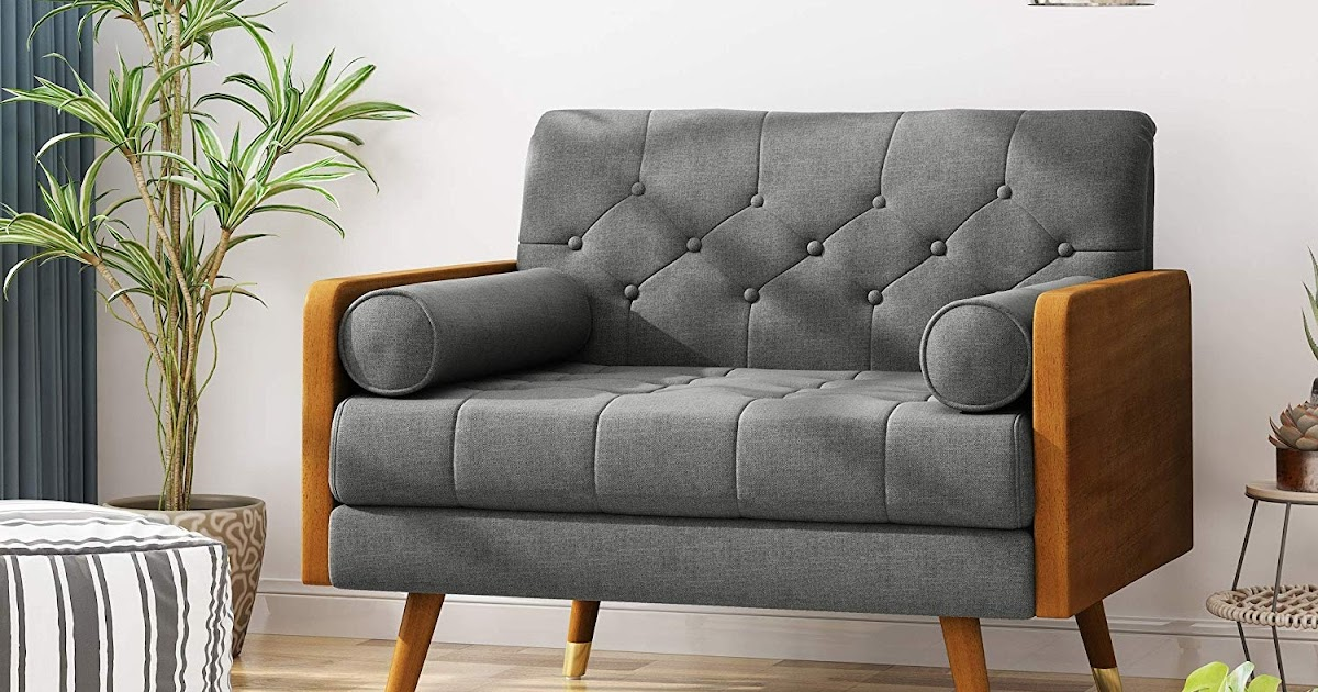 mini fabric sofa for living room with grey minimalist and