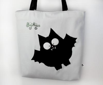 Guyuminos Bolsa de mano gris con vampiro negro