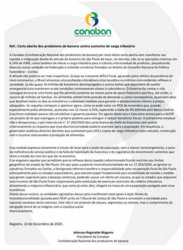 Carta aberta dos produtores de banana contra aumento de carga tributária