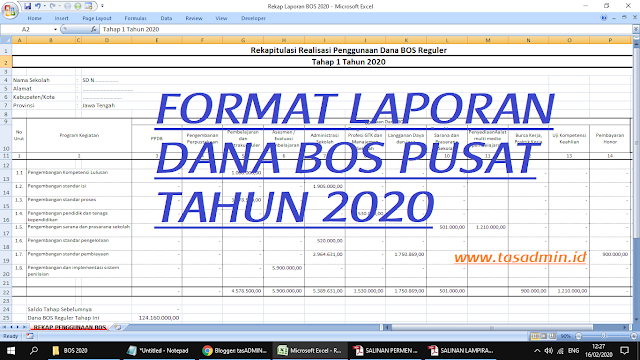 format laporan pembukan bos tahun 2020