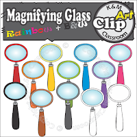 Magnifying Glass Clip Art in Rainbow Colors