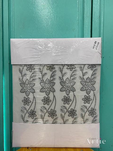 Pelekat hotfix sticker rhinestone DMC aplikasi tudung bawal fabrik pakaian bunga kelopak besar