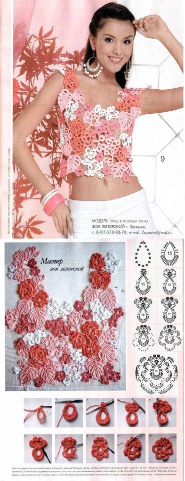 Patron Crochet Top Flores Apliques