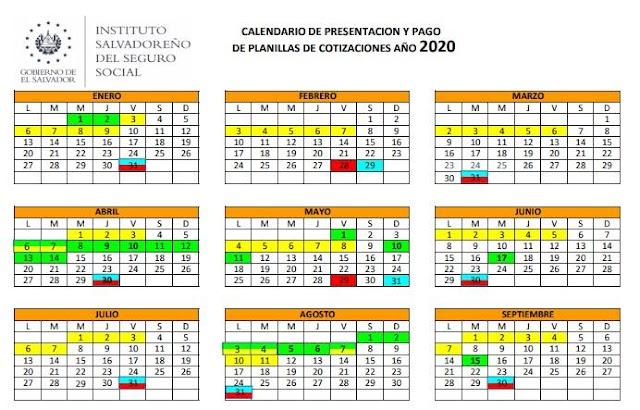 CALENDARIO OBLIGACIONES PREVISIONALES ISSS, AFP CONFÍA, AFP CRECER