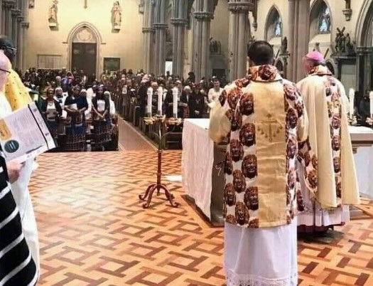 Catholic Bishop in United Kingdom dressed in Igbo attire Isi Agu (Photos)