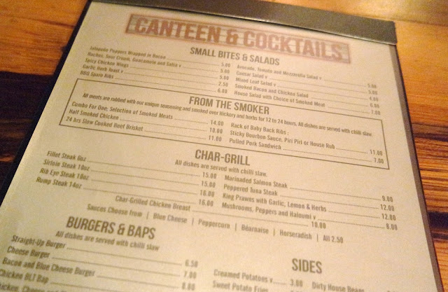 Canteen and Cocktails - Norton Restaurant Review Teesside Menu