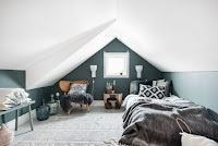 Two-tone wall color idea for attic bedroom