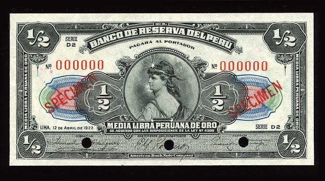 World paper money currency Peru Libra banknote