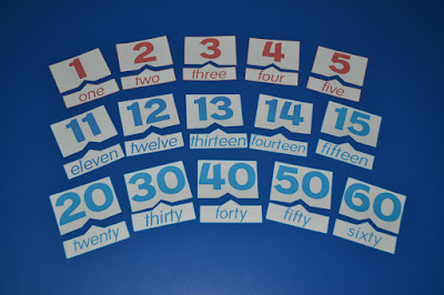 printable English numbers flashcards