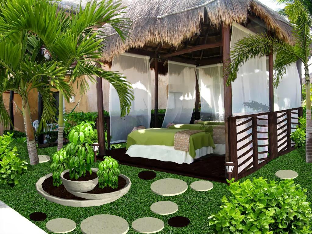 Dise o de jardines peque os palapa de masage y spa hotel for Cascada para jardin interior