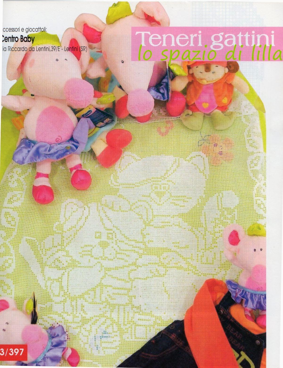 Lo spazio di lilla copertine per neonato a filet la for Lo spazio di lilla copertine neonato