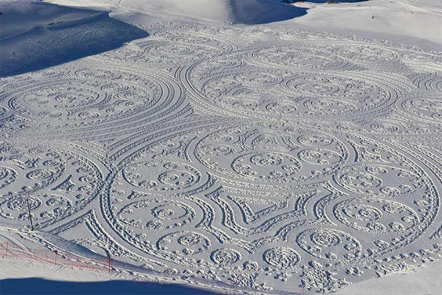 Expansive New Geometric Drawings Trampled in Snow and Sand