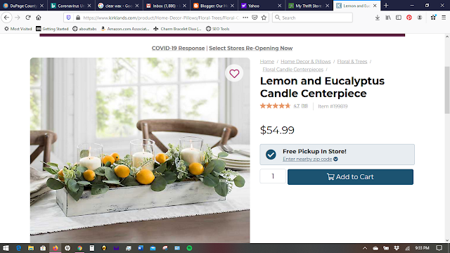 farmhouse kitchen table eucalyptus and lemon centerpiece wooden box