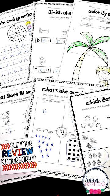 Kindergarten Summer Review packet includes 100 pages of no prep work to help prevent summer slide.  Some of the topics covered include number and letter ID, counting, addition & subtraction, sequencing numbers, rhyming words, sight words and more!