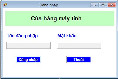 Giao diện đăng nhập của phần mềm