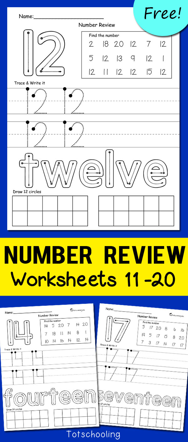 FREE printable set of worksheets to review teen numbers up to 20. Great for kindergarten kids who are learning how to write and recognize larger numbers. No-prep worksheets.