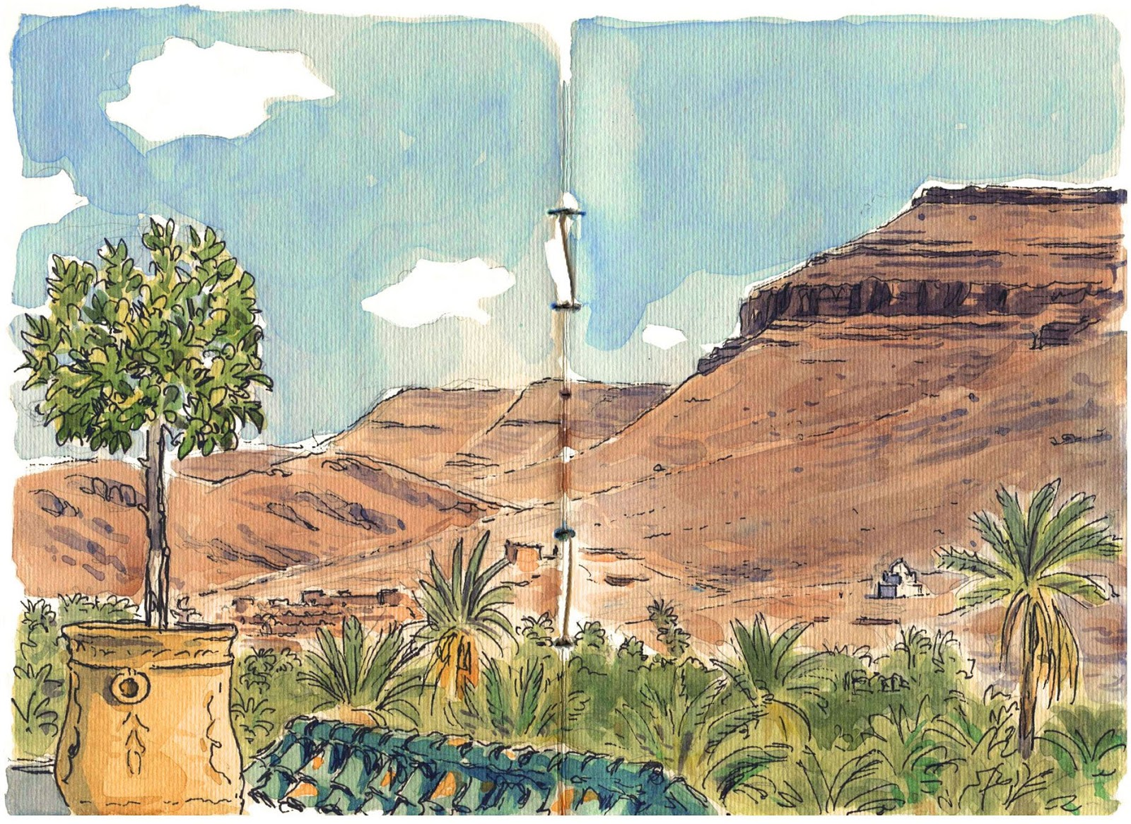 watercolor sketch in Fint oasis
